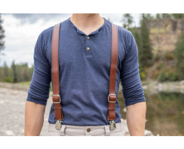 quality leather suspenders in brown