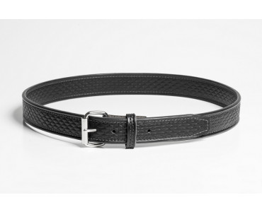 black leather basket weave gun belt