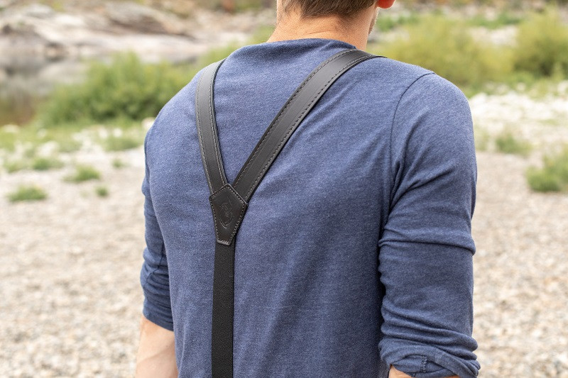 secure mens black suspenders